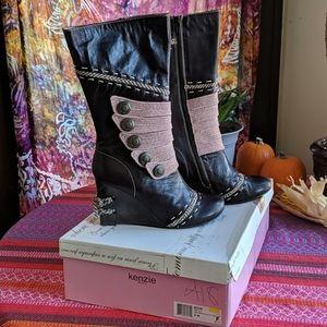 Kenzie dark brown leather wedge boots
